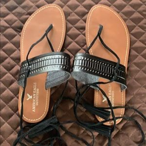 American Eagle tie ankle sandals size 7